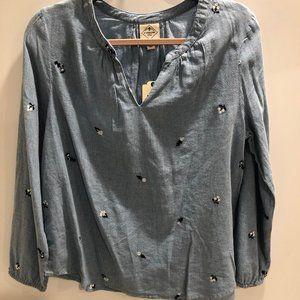 ST JOHN'S BAY light blue long sleeve blouse